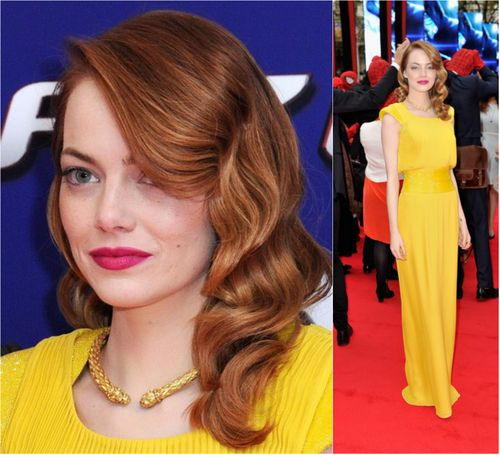 Emma Stone attends 'The Amazing Spiderman 2' Premiere in London. Hair - Mara Roszak / Starworks Artists.