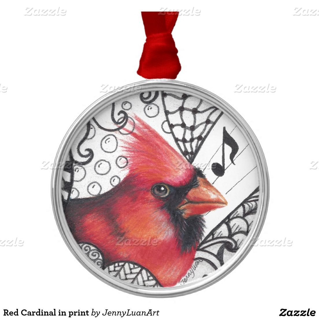 Red Cardinal in print Round Metal Christmas Ornament