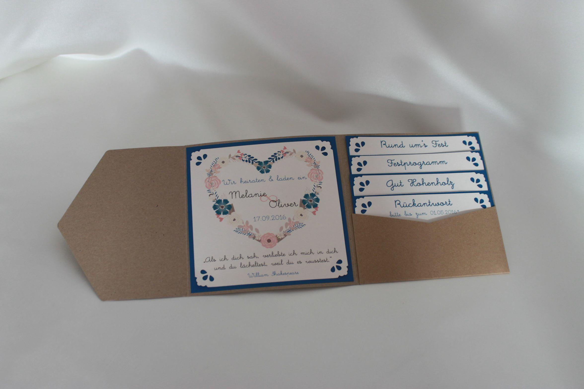 Pocketfold einladungskarte vintage hochzeit natural for Pinterest hochzeitseinladung