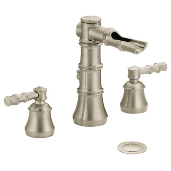 Powder room faucet in Brass Bamboo Brushed nickel two-handle open