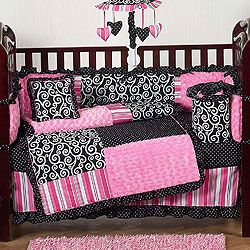 Pink And Black Crib Bedding Things For Baby Girl Crib Bedding