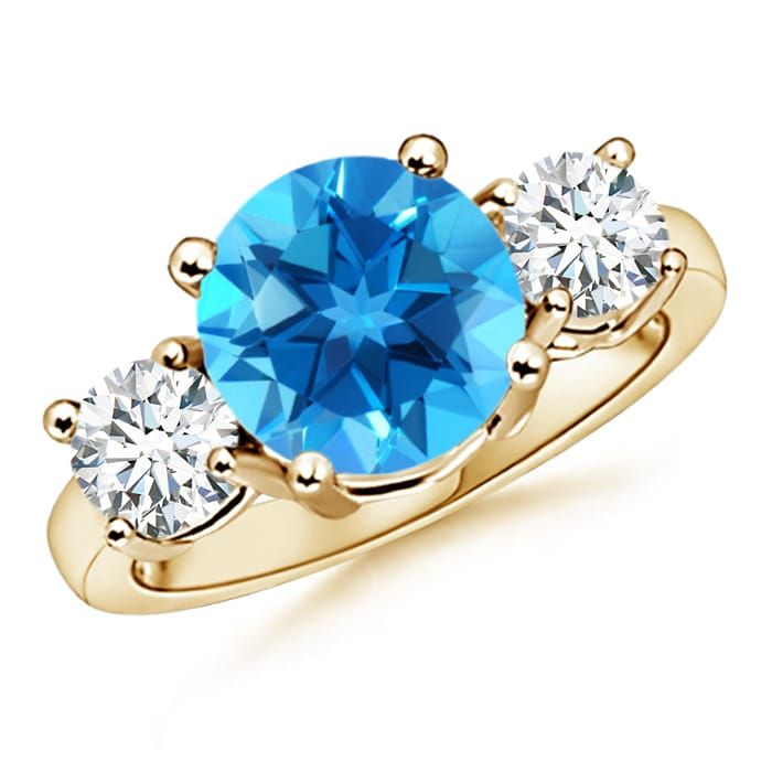 Angara Classic Three Stone Swiss Blue Topaz and Diamond Engagement Ring 2IZi4G