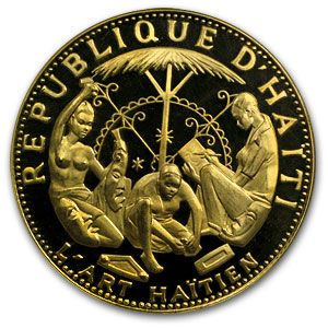 Only 435 minted! This beautiful Gold coin was issued to honor the 10th anniversary of revolution in Haiti. An example of Haitian native art is displayed on the obverse, while the Haitian coat of arms appears on the reverse. This coin contains an AGW of 2.8568 oz.