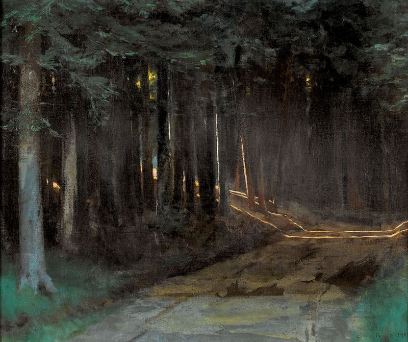 Forest with Sunlight Pouring in - Louis Rivier