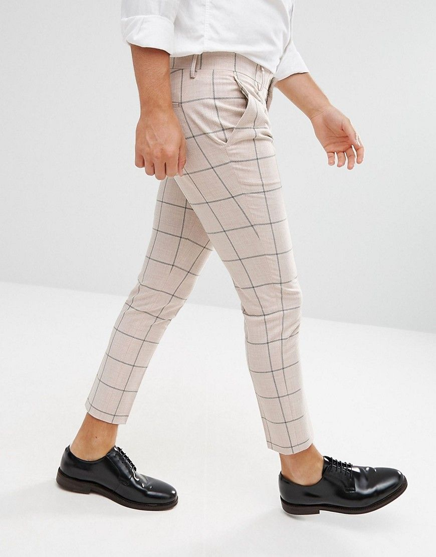 77ac805480b85 ASOS Super Skinny Crop Smart Trousers In Putty Windowpane Check from ASOS ( men