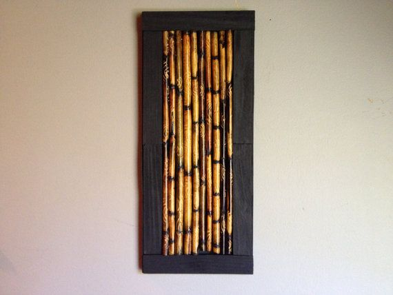 Bamboo Stick Framed Art Altered Rustic By Alteredrusticdesigns Bamboo Wall Art Stick Wall Art Stick Art