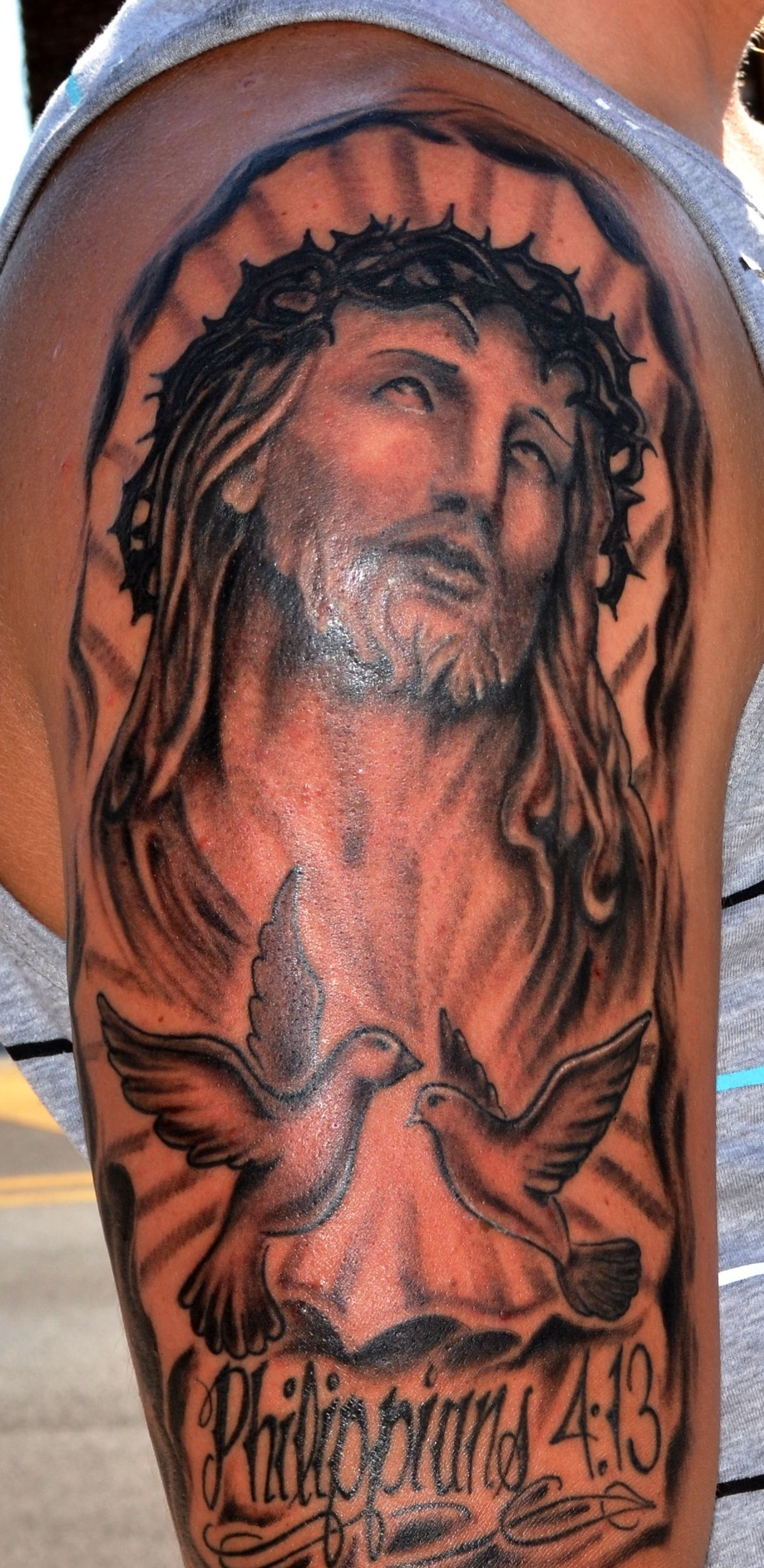 Jesus half sleeve tattoo tattoo work pinterest for Jesus tattoos on arm