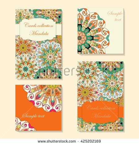 Greeting Card Design With Mandala Pattern Abstract Vector