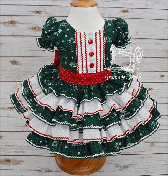 girls christmas dress green and white dress christmas ruffle dress pageant dress infant 12 18 month ready to ship