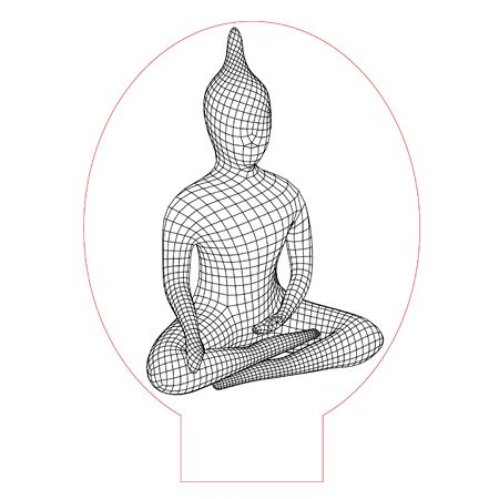 Buddha 3d Illusion Lamp Vector File For Laser And Cnc 3bee Studio 3d Illusion Lamp 3d Illusions 3d Lamp