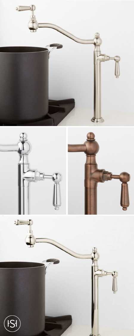 We Love How This Korlan Deck Mount Retractable Pot Filler With Metal Lever Handles Adds Both Function And Style Kitchen Hardware Signature Hardware Pot Filler