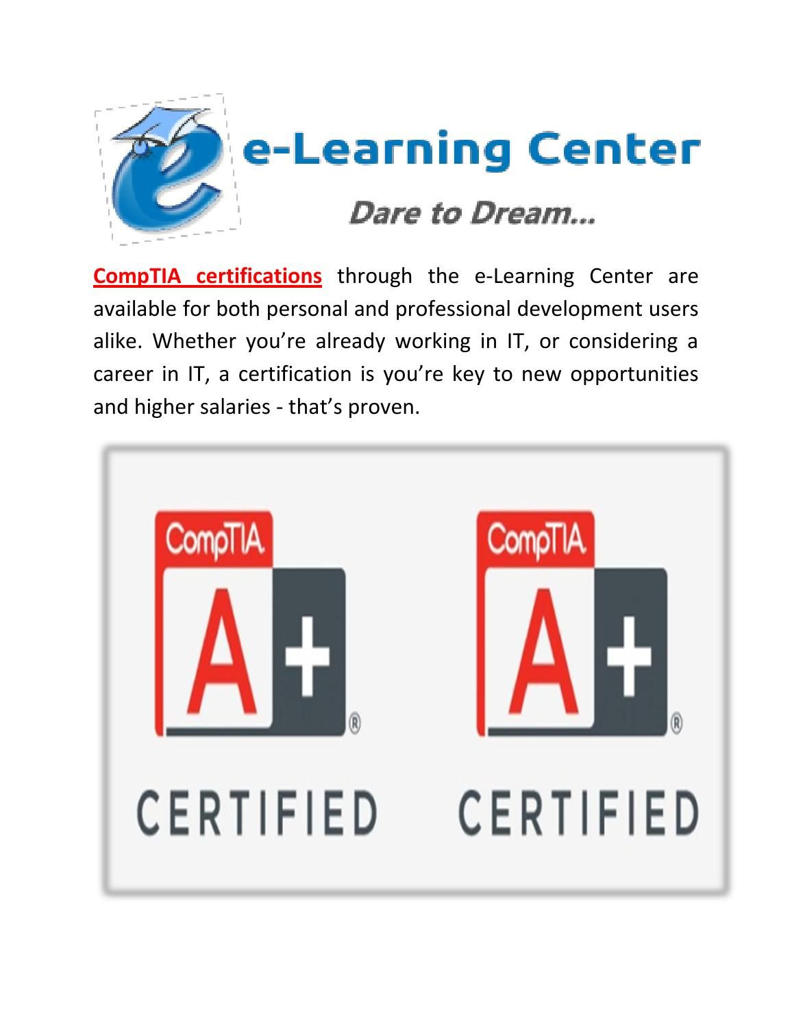 Comptia Certifications Exams | Free Online Course | Personal