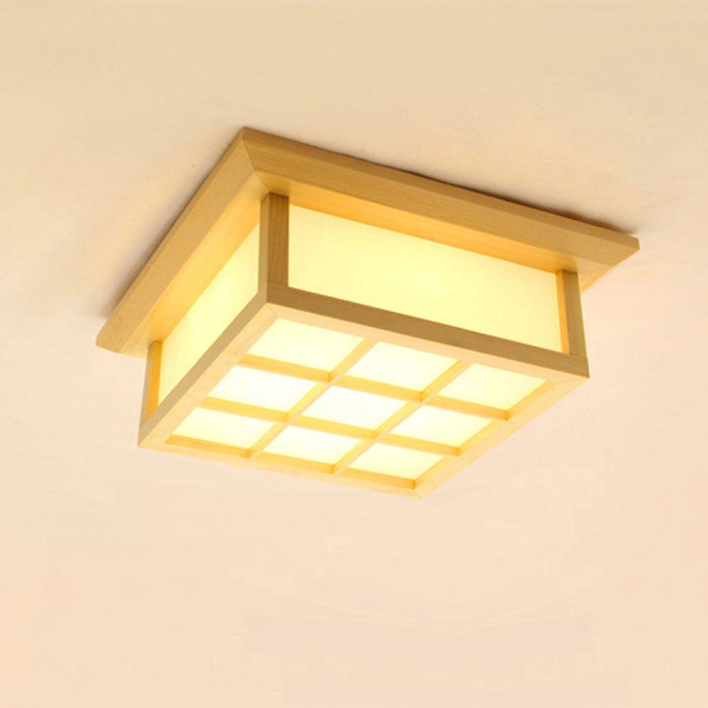 Japanische Stil LED Deckenleuchte aus Holz und PVC
