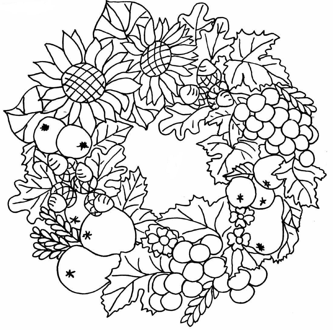 Раскраска осенний букет из листьев распечатать
