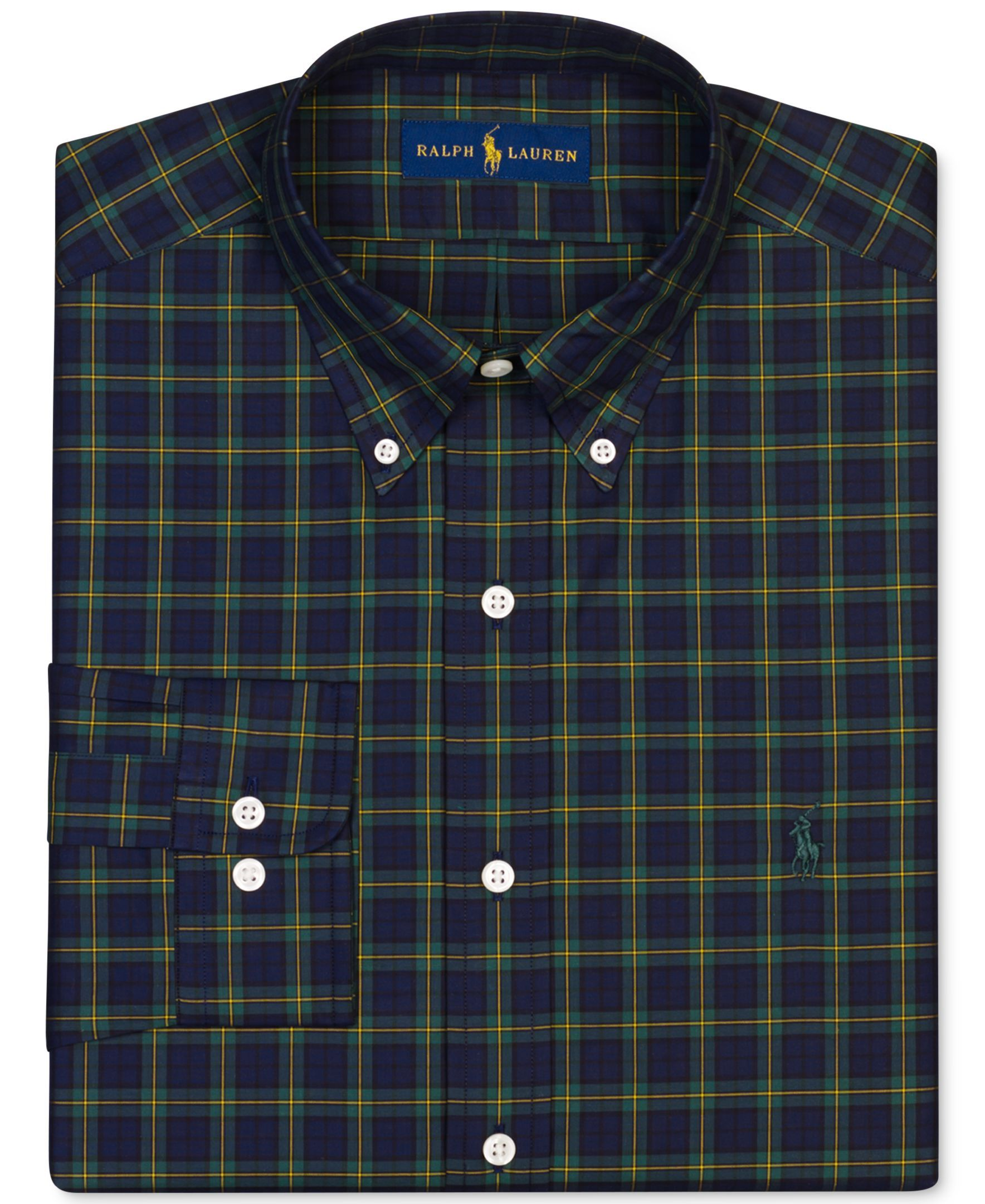 Polo Ralph Lauren Hunter Green Plaid Dress Shirt Checked Shirts In