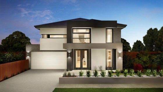 Fachada de casa moderna de dos plantas con estilizado for Fachadas de casas pequenas de dos pisos estilo minimalista