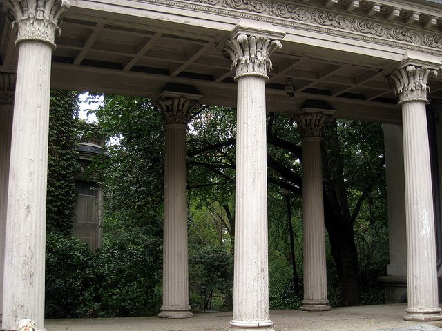 Detail of the Litchfield Villa biilt 1857 [in Prospect Park Brooklyn]. Porch supports are an American order featuring corn and wheat motifs on the capitals, recalling Latrobe's corn columns in the senate foyer of the Capitol in Washington.