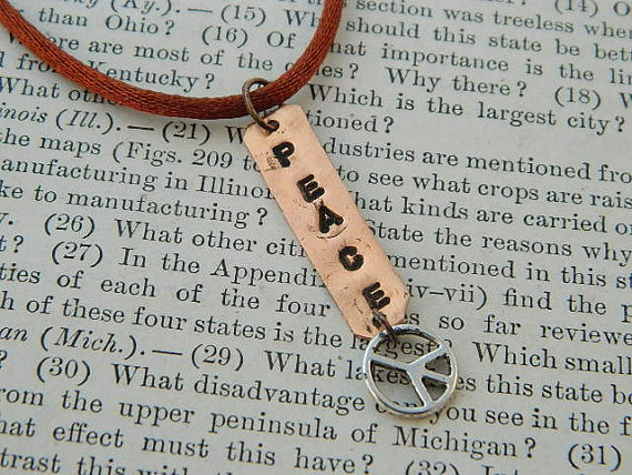 Peace necklace Inspirational necklace affirmation copper necklace Peace sign