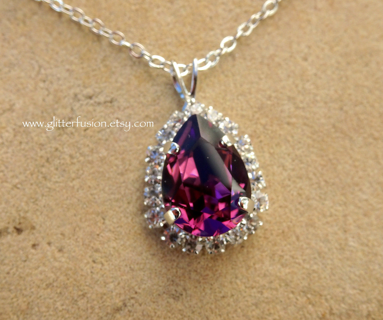 Amethyst Stone Purple Statement Necklace February Birthstone