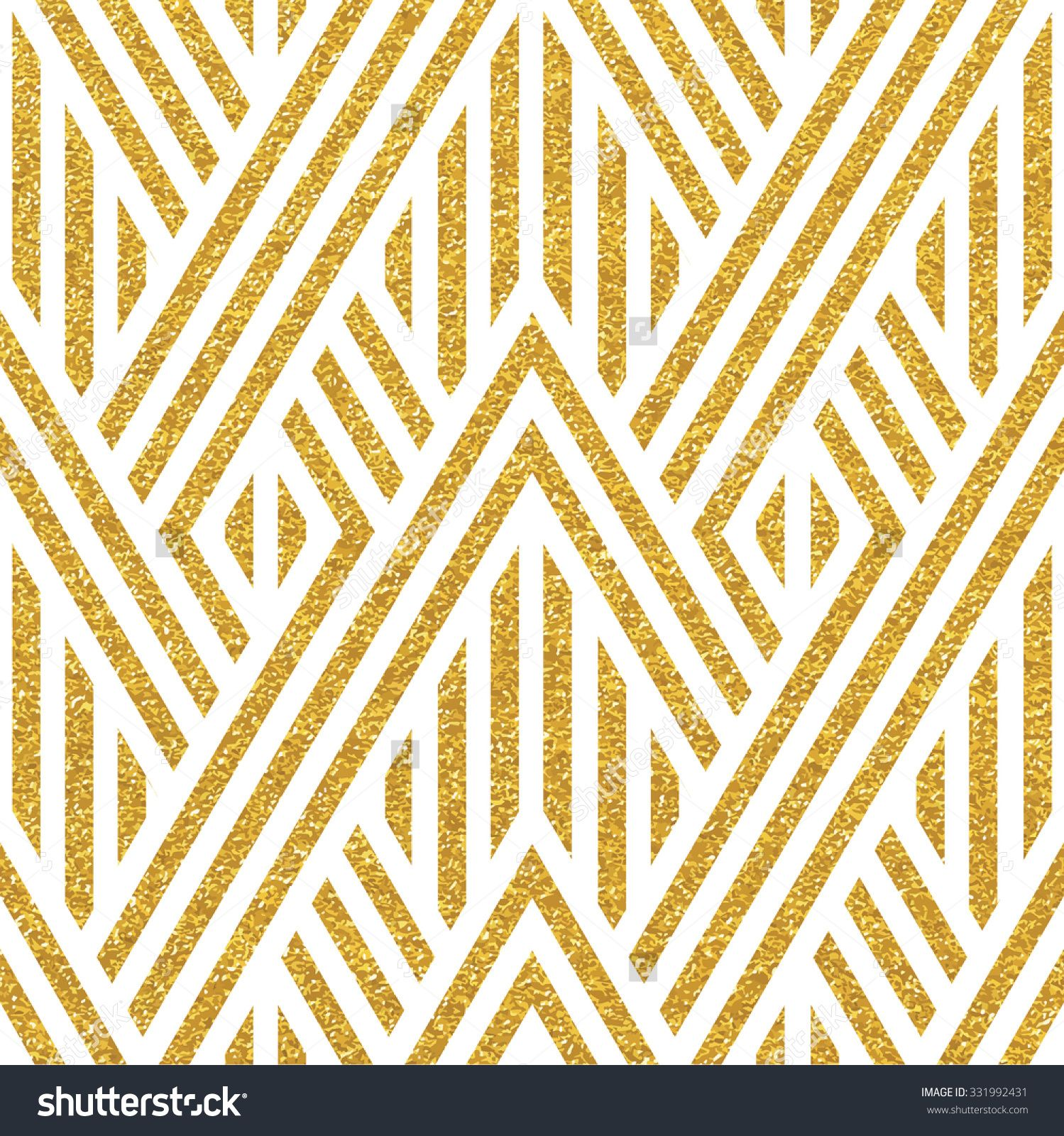 Geometric striped ornament. Vector gold seamless patterns