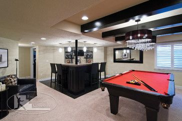Basement Bar Pool Table Contemporary Basement Entertainment