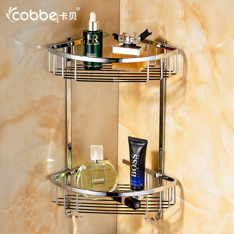 Modern Towel Rack Mirror Wall Mounted Towel Holder Double Layer Stainless Steel Shower Cor Bathroom Furniture Storage Shower Cabinets Stainless Steel Bathroom