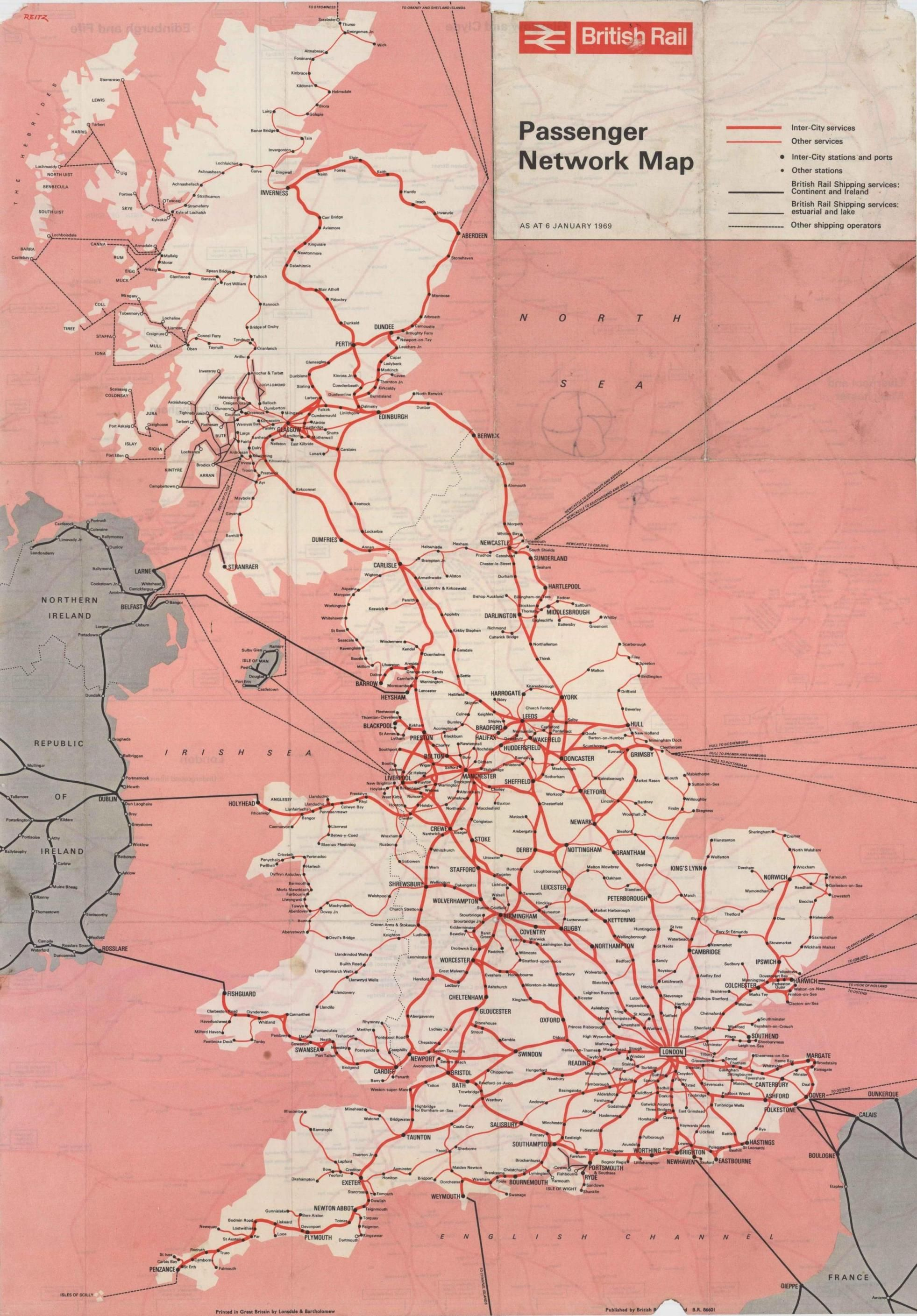 80419f444c3b8 vintage British Mainland rail map from 1969 | Old Maps | Railway ...