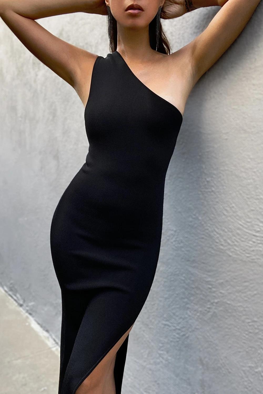 Basic One Shoulder Midi Dress Black In 2021 Black Midi Dress One Shoulder Midi Dress Basic Black Dress [ 1500 x 1000 Pixel ]