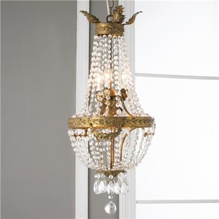 Antique French Crystal Basket Chandelier