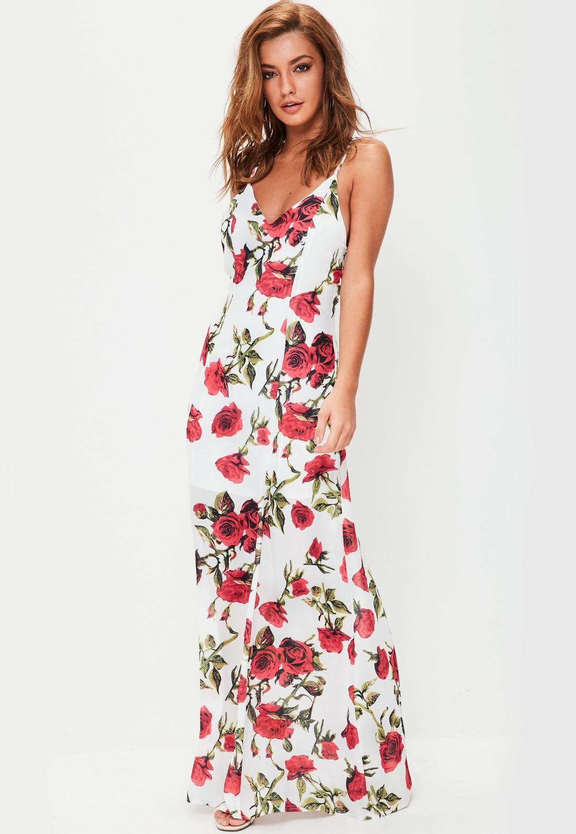 1b2f3976db981b White Floral Strappy Detail Maxi Dress
