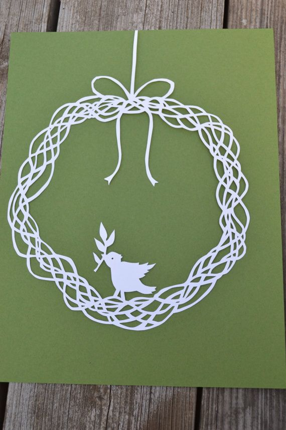 Grapevine Wreath With Bird Original Paper Cut By Hand