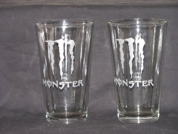 Monster Energy Custom Etched 16oz Drinking Glasses By Waytwocool 30 00 Monster Energy Monster Drinking Glasses