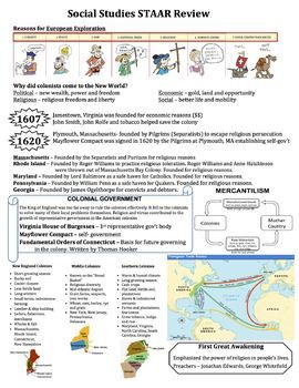 Us History 8 Ss Staar Review Sheets Social Studies Middle