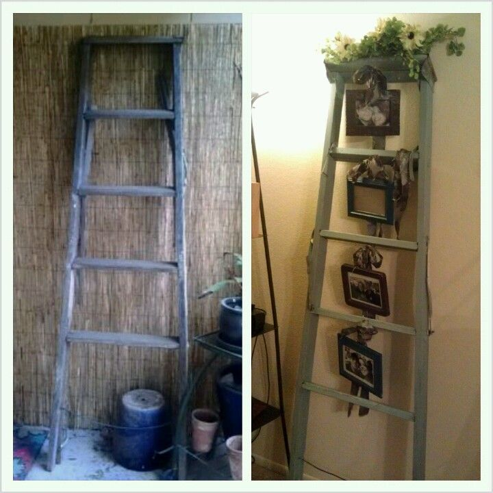 Converted An Old Vintage Ladder Into A Cute Living Room Show Piece. Hung  Picture Frames