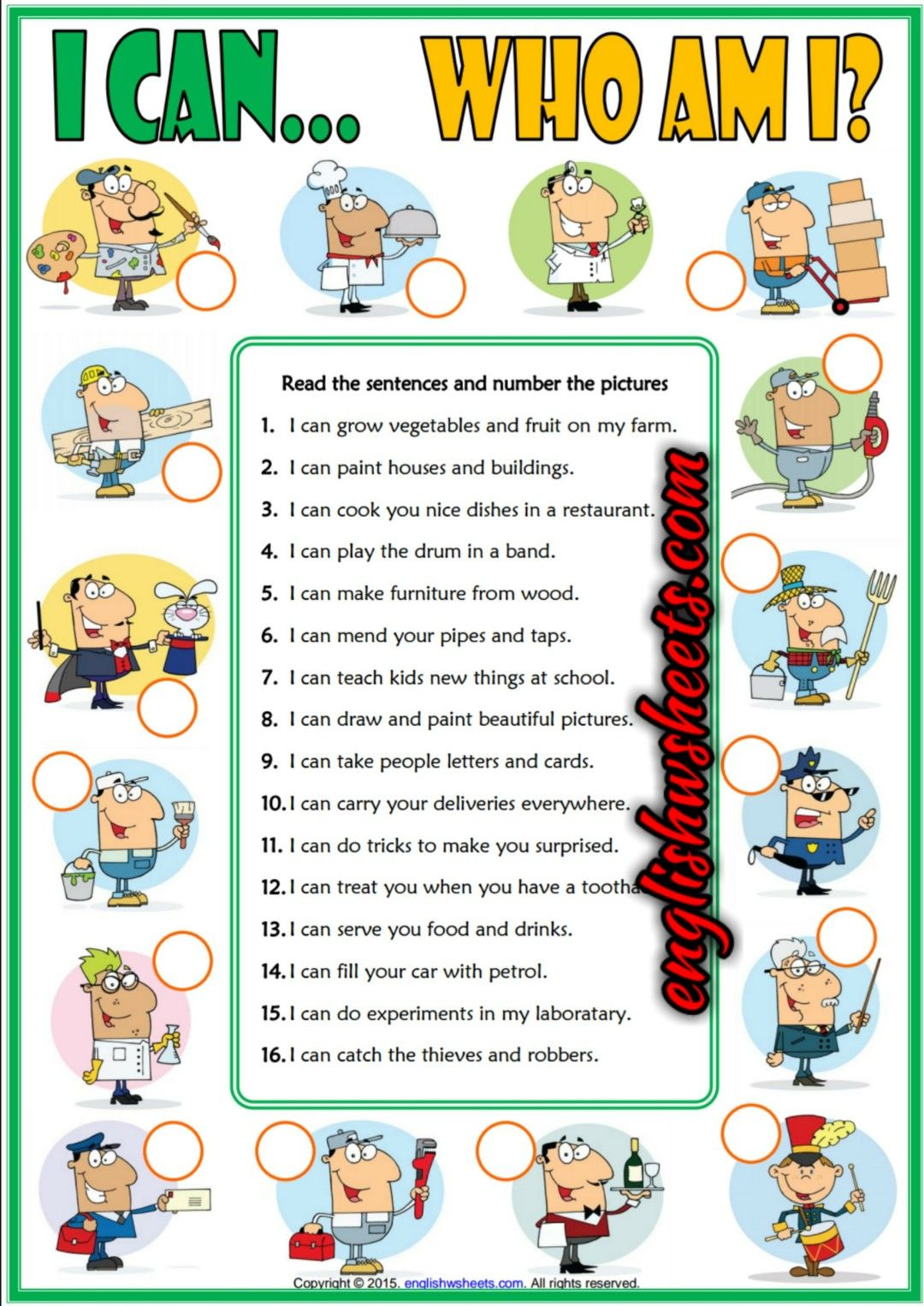 Ability Can Esl Printable Jobs Matching Exercise Worksheet For Kids Ability Can Esl Jobs