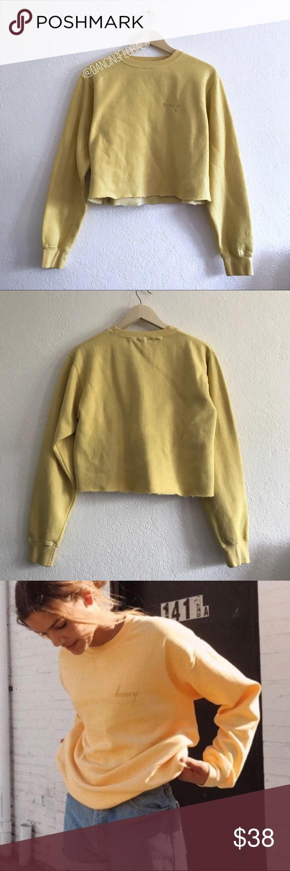 Brandy Melville Honey Yellow Crop Sweater Brandy Melville Honey