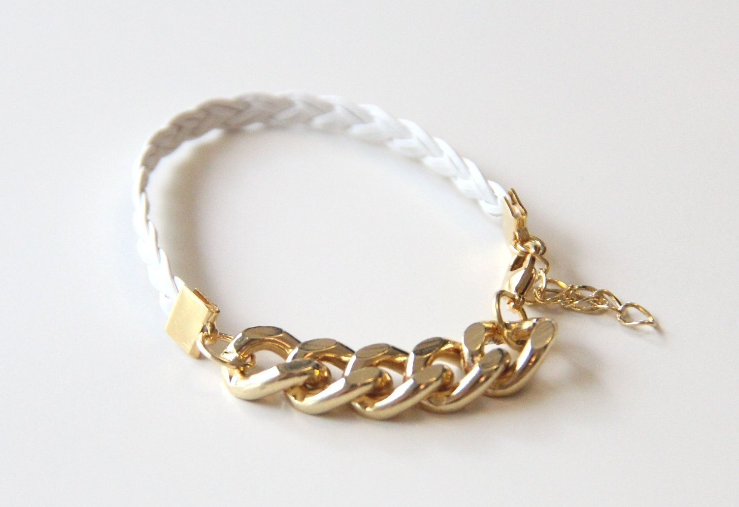On sale arm candy gold chunky chain with white leather braid