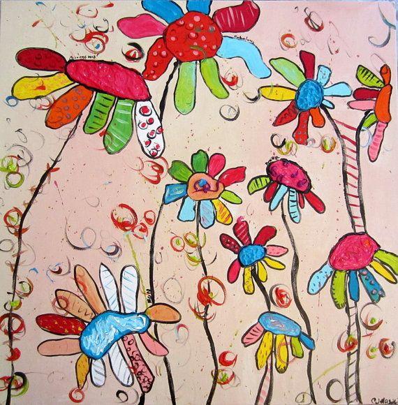 Arte de pared de acrílico flores abstractas por CorrieHayesArt