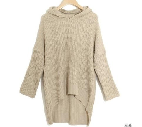 Popular Korean Womens Loose Long Irregular Hem Hooded Sweater [#20 ...