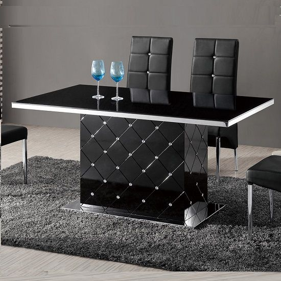 Levono Glass High Gloss Dining Table In Black With Rhinestone