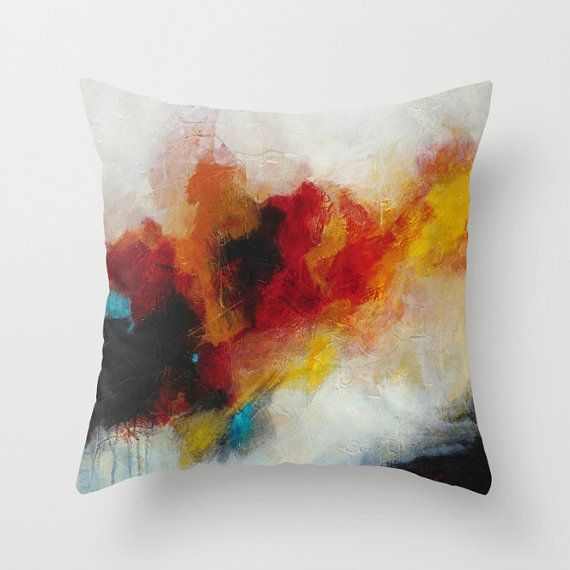 Abstract Pillow Covers Black White Blue Yellow Red Throw Etsy Abstract Throw Pillow Throw Pillows Pillow Art