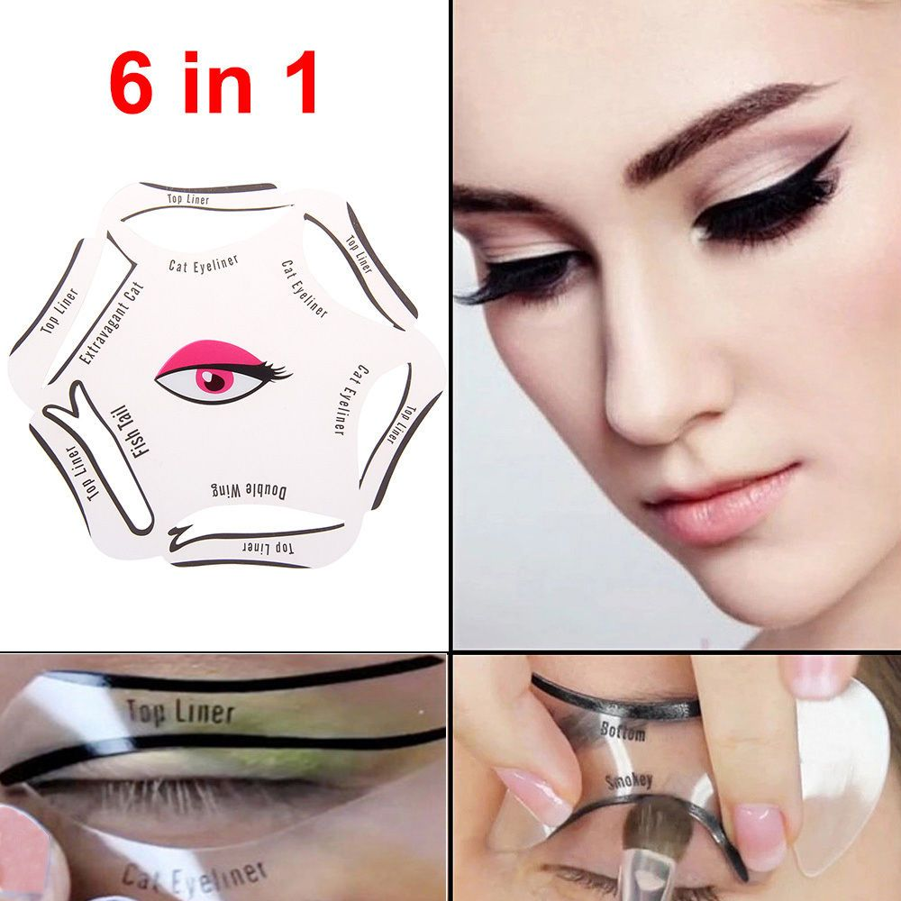 6 In 1 Eyeliner Stencil Set Makeup Guide Quick Cat Eye Liner Tool Liquid Uk