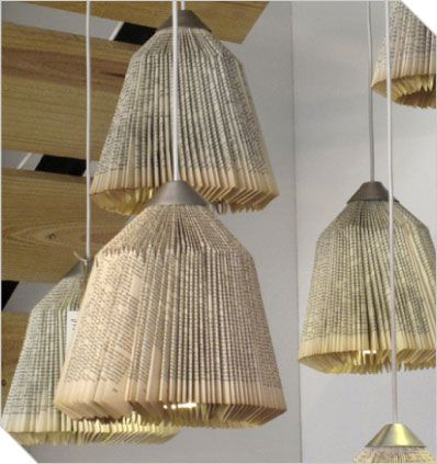 Recycled used book lamp shade created with folded book pages and recycled used book lamp shade created with folded book pages and finished with brushed aluminium ceiling mozeypictures Images