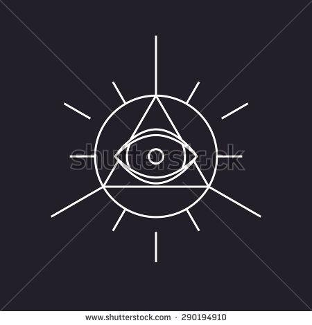 All seeing symbol, modern line design, vector - stock vector