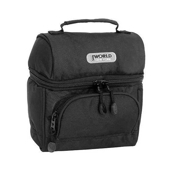 J World Corey Lunch Bag with Front Pocket ($17) ❤ liked on Polyvore featuring home, kitchen & dining, food storage containers, black, black food storage containers, compartment lunch box, black lunch box, colored lunch bags and jworld bags