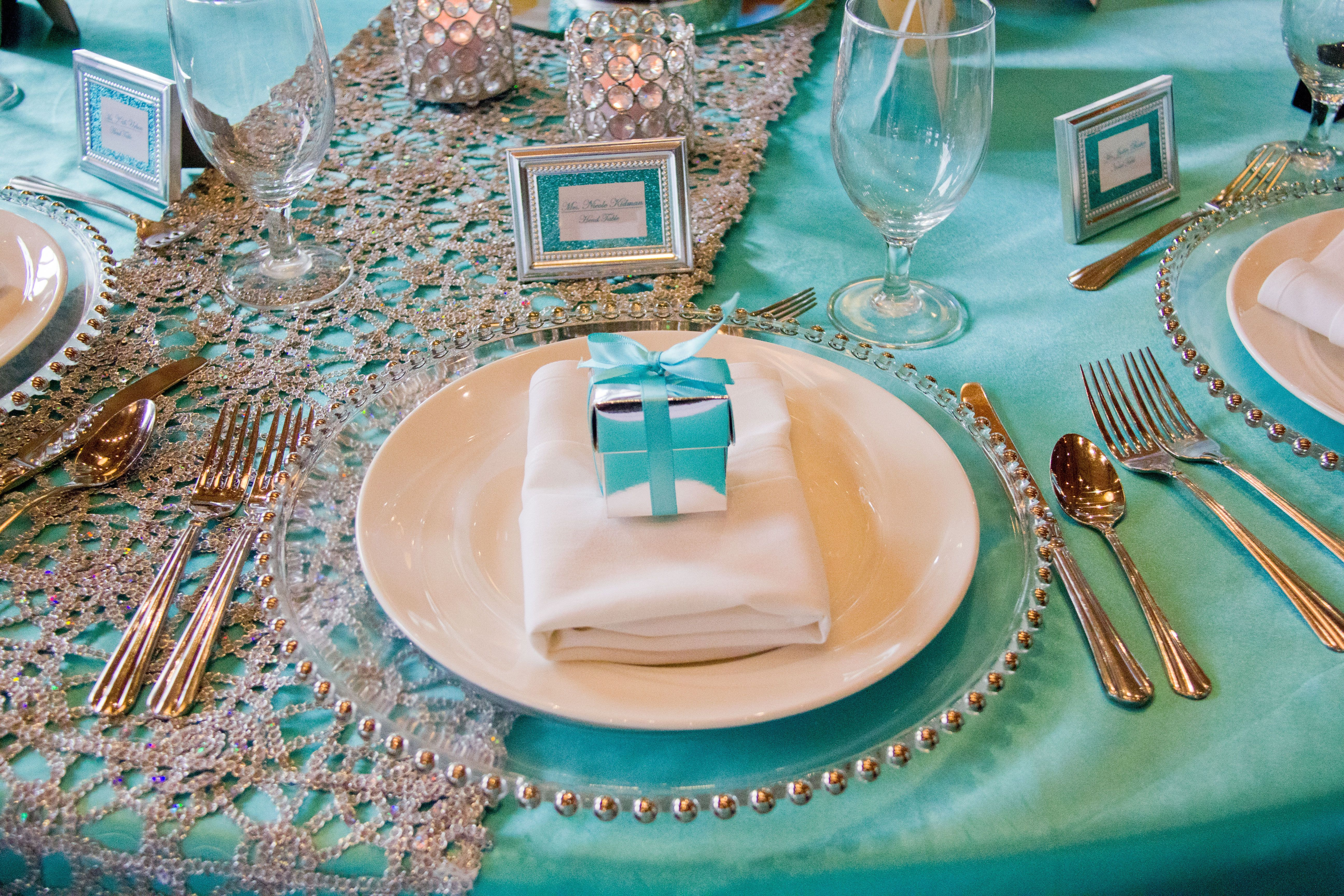 snowflake table decorations.htm tiffany blue satin overlay  silver chemical lace table runner with  tiffany blue satin overlay  silver