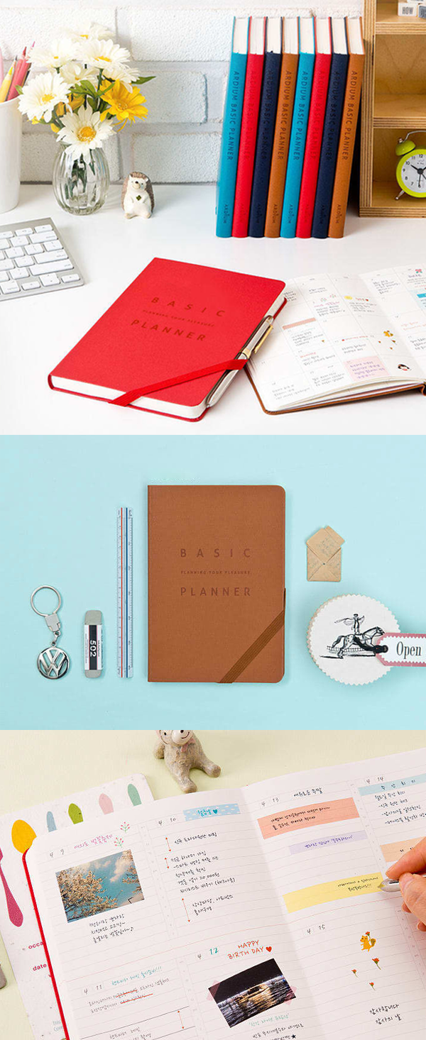 the medium basic planner features an appropriate size a clean design throughout and a