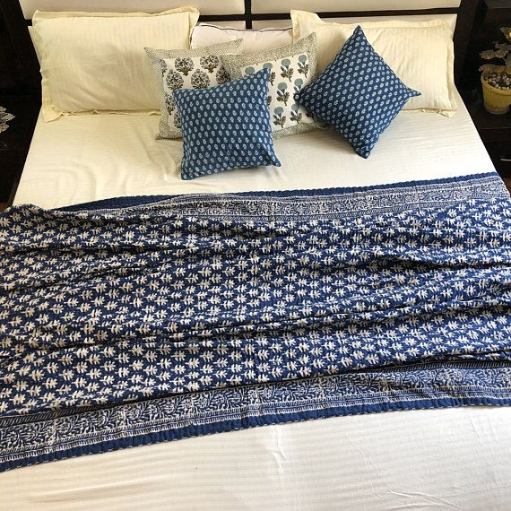 Awesome Indigo Oak Tree Kantha Throw Blue White Handmade Uwap Interior Chair Design Uwaporg