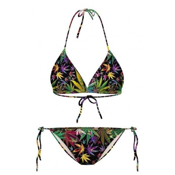 Tropical Leaf Print Halter with String Bikini Set (€17) ❤ liked on Polyvore featuring swimwear, bikinis, string bikini swimwear, thong bikini swimwear, leaf print bikini, gstring bikini and g string bikini swimwear