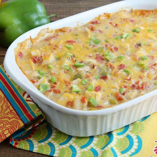 this creamy cheesy king ranch chicken casserole is a
